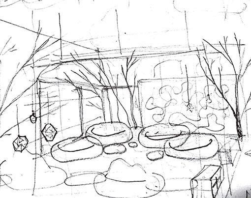 Boceto de El Bosque_espacio Hub_Ikea_Barreira