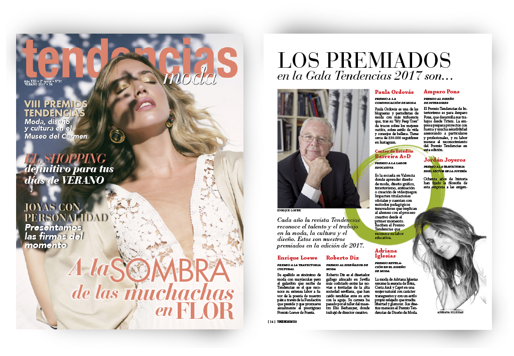 Revista Tendencias Moda - Junio - Premio Barreira